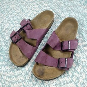Birkenstock Arizona Purple Leather Sandals. 39
